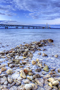 Evening Lights Posters - Mackinac Bridge from the Beach Poster by Twenty Two North Photography