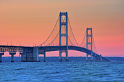 Dusk Prints - Mackinac Bridge, Mackinaw City, Michigan Print by John McCormick