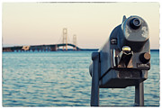 Telescope Framed Prints - Mackinac Bridge View  Framed Print by Tanya Harrison