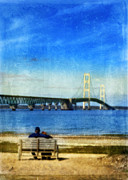 Mackinac Bridge Prints - Mackinac Bridge with couple on bench Print by Jill Battaglia