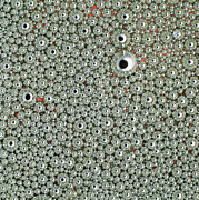 Droplet Prints - Macrophoto Of Drops Of Mercury In Oil Print by Dr Jeremy Burgess
