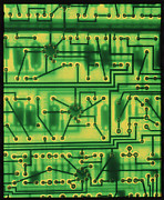 Integrated Prints - Macrophoto Of Surface Of A Circuit Board Print by Tony Craddock