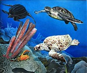 Sea Turtles Paintings - MacTurtles by Ben Saturen