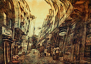 Historic Center Framed Prints - Mad Alley Framed Print by Jutta Maria Pusl