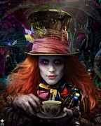 Mad Hatter Posters - Mad As a Hatter Poster by Omri Koresh