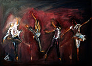 Ballet Dancers Paintings - Mad dance by Stanciu Razvan