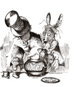 Mad Hatter Drawings Prints - Mad Hatter and Rabbit Print by Loremae Albano