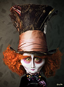 Mad Hatter Digital Art Posters - Mad Hatter Poster by BaloOm Studios