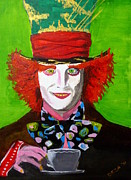 Alice In Wonderland Paintings - Mad Hatter by Deza Villanueva