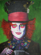 Actors Painting Originals - Mad Hatter Johnny D by Charolette A Coulter