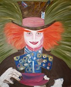 Alice In Wonderland Painting Originals - Mad Hatter  by Shannon Schow