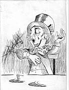 Mad Hatter Drawings - Mad Hatter With Invisible Cup And Saucer by John Heavrin