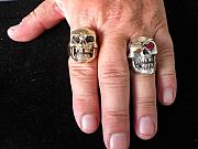 Sterling Silver Jewelry - Mad Man Skull Jewelry on the Hand by J C Hyler
