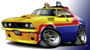 Movie Art Posters - Mad Max MFP Falcon Police Car Poster by Maddmax