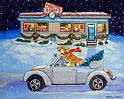 Christmas Dogs Art - Mad Maxs Ride by Lyn Cook