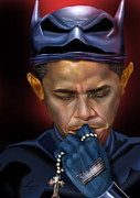 Barack Obama Painting Prints - Mad Men Series 1 of 6 - President Obama The Dark Knight Print by Reggie Duffie