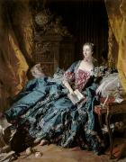 Pen Prints - Madame de Pompadour Print by Francois Boucher