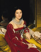 Dark Red Paintings - Madame de Senonnes by Ingres