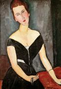 Distorted Painting Posters - Madame G van Muyden Poster by Amedeo Modigliani