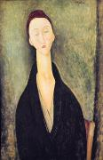 Distorted Painting Posters - Madame Hanka Zborowska Poster by Amedeo Modigliani