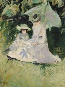 Umbrella Paintings - Madame Helleu and her Daughter at the Chateau of Boudran by Paul Cesar Helleu