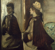 Edgar Degas Framed Prints - Madame Jeantaud in the mirror Framed Print by Edgar Degas