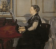 Chair Painting Metal Prints - Madame Manet at the Piano Metal Print by Edouard Manet