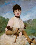 Cane Paintings - Madame Marie Toulmouche by Jules Elie Delaunay