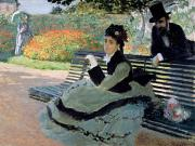 Umbrella Posters - Madame Monet on a Garden Bench Poster by Claude Monet