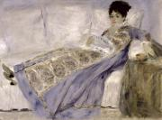 Woman Relaxing Framed Prints - Madame Monet on a Sofa Framed Print by Pierre Auguste Renoir