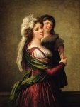 Embrace Painting Framed Prints - Madame Rousseau and her Daughter Framed Print by Elisabeth Louise Vigee Lebrun