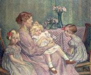 Caring Mother Painting Framed Prints - Madame van de Velde and her Children Framed Print by Theo van Rysselberghe