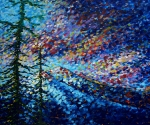 Impressionism Glass Framed Prints - MADART Mountain Glory Framed Print by Megan Duncanson