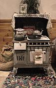 Antique Wood Burning Stove Posters - Maddies Old Stove Poster by Nancy TeWinkel Lauren