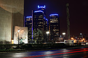 Building Digital Art Originals - Made In Detroit Michigan - Woodward and Jefferson At Night by Gordon Dean II