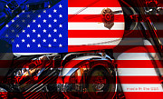 Flag Of Usa Prints - Made In The USA . Harley-Davidson . 7D12759 Print by Wingsdomain Art and Photography