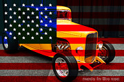Usa Flag Prints - Made In The USA . 1932 Ford 5 Window Coupe Print by Wingsdomain Art and Photography