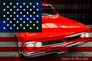 Transportation Metal Prints - Made In The USA . 1966 Chevy Chevelle SS 396 Metal Print by Wingsdomain Art and Photography