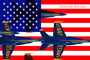 Flag Of Usa Photo Prints - Made In The USA . Blue Angels Print by Wingsdomain Art and Photography