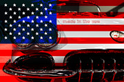 American Flags Prints - Made In The USA . Chevy Corvette Print by Wingsdomain Art and Photography