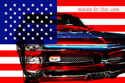 Flag Of Usa Digital Art Prints - Made In The USA . Pontiac GTO Print by Wingsdomain Art and Photography