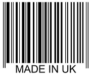 Consumerism Posters - Made In Uk Barcode Poster by David Freund