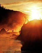 Yellowstone Park Scene Prints - Madison River At Sunrise Print by by Adam Christensen