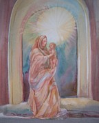 Christ Child Prints - Madona of the Rock Print by Sue Kemp