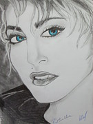 Star Drawings Posters - Madonna 25th True Blue Anniversary Poster by Louise Griffiths