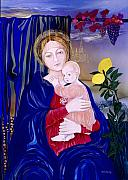 Religious Art Painting Prints - Madonna After Morone Print by Milada Kessling