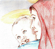Madonna Drawings Prints - Madonna and Baby Jesus Print by Denny Phillips