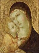 Gold Leaf Paintings - Madonna and Child by Ansano di Pietro di Mencio