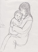 Virgin Mary Drawings Prints - Madonna and Child Print by Connie Kottmann
