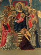 Madonna Painting Metal Prints - Madonna and Child enthroned with Angels and Saints Metal Print by Fra Filippo Lippi